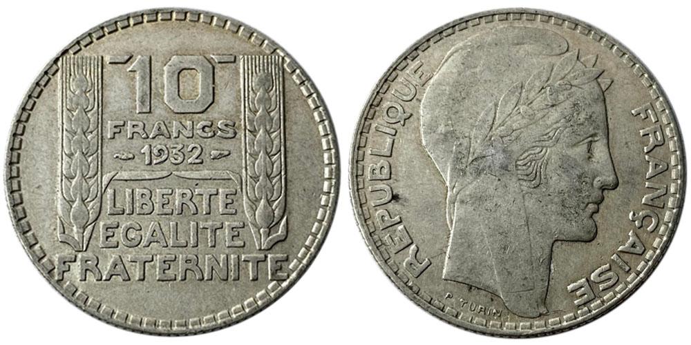 10 франков 1932 Франция — серебро №7