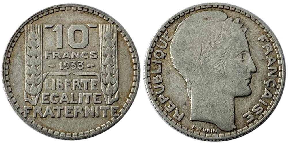 10 франков 1933 Франция — серебро