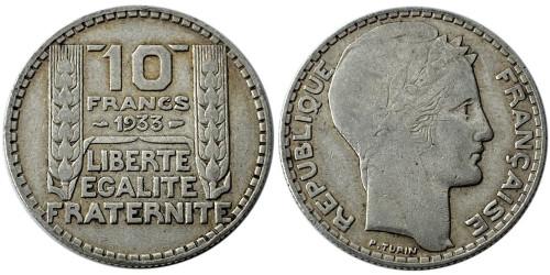 10 франков 1933 Франция — серебро №1
