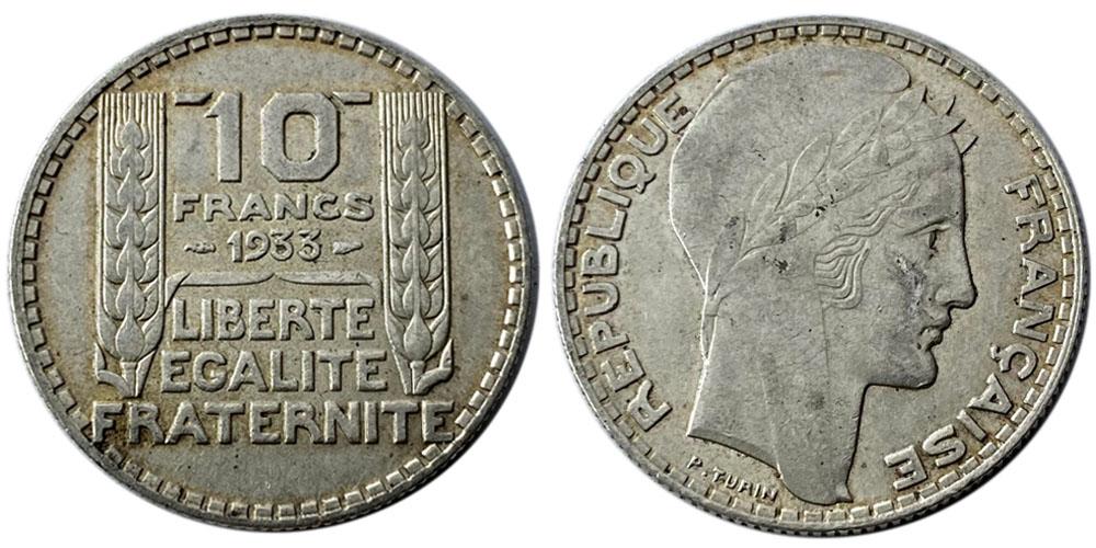 10 франков 1933 Франция — серебро №5