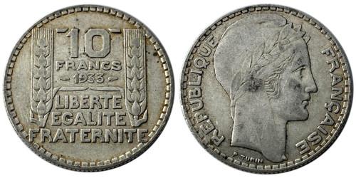 10 франков 1933 Франция — серебро №6