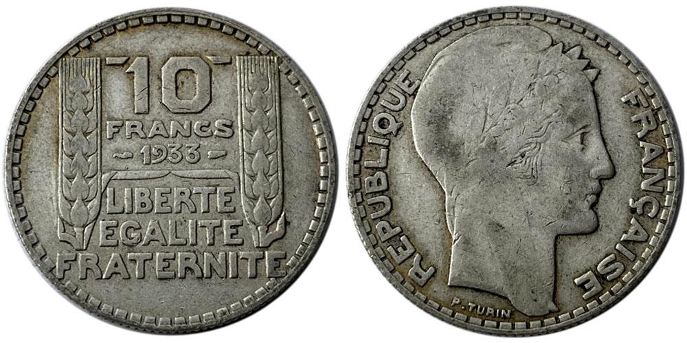 10 франков 1933 Франция — серебро №7
