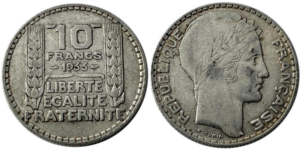 10 франков 1933 Франция — серебро №9