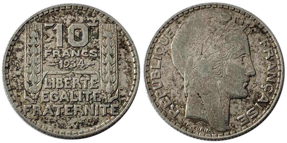 10 франков 1934 Франция — серебро №1
