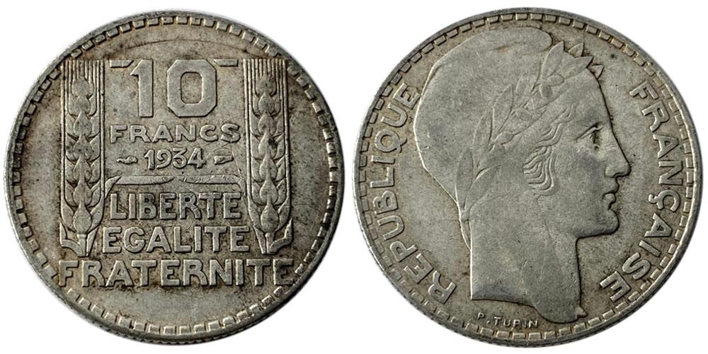 10 франков 1934 Франция — серебро №2