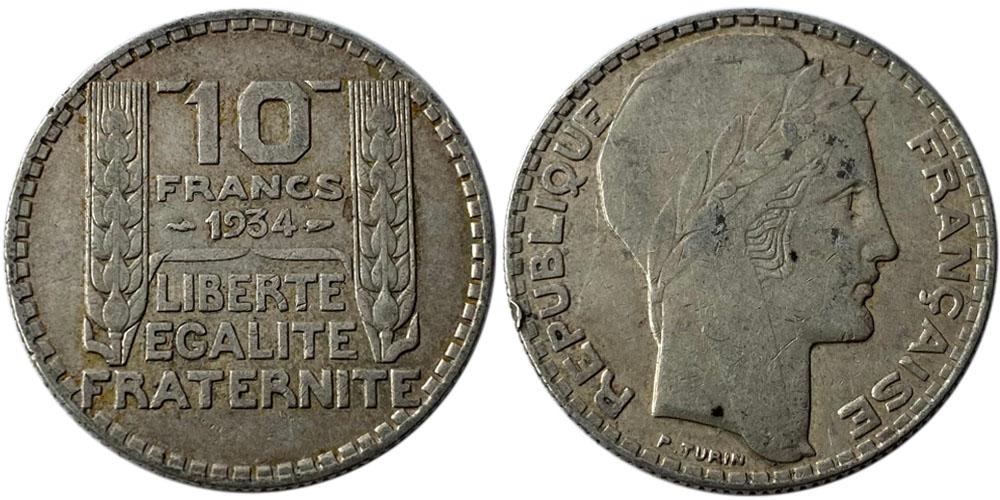 10 франков 1934 Франция — серебро №6