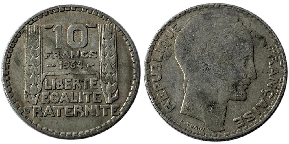 10 франков 1934 Франция — серебро №8