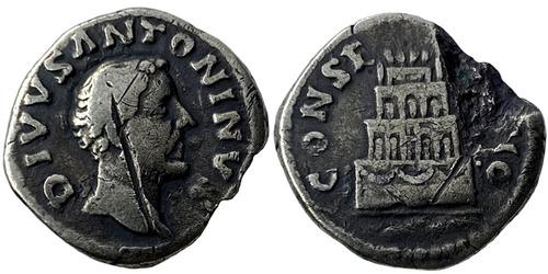 Денарий — Антонин Пий (посмертный) — Ритуальный костер — серебро