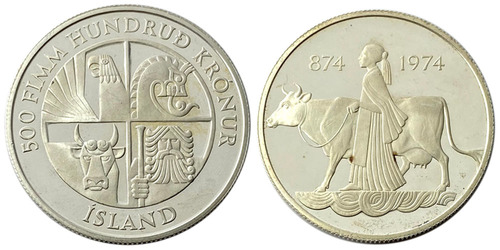 500 крон 1974 Исландия — 1100 лет первым поселенцам Proof — серебро