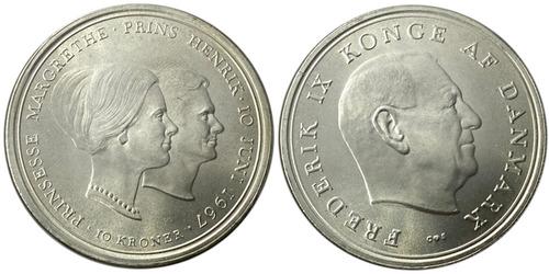 10 крон 1967 Дания — Свадьба Принцессы Маргрете — серебро