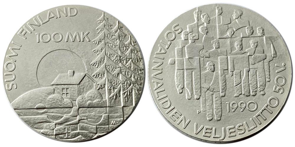 100 марок 1990 Финляндия — 50 лет Ассоциации ветеранов-инвалидов войны — серебро
