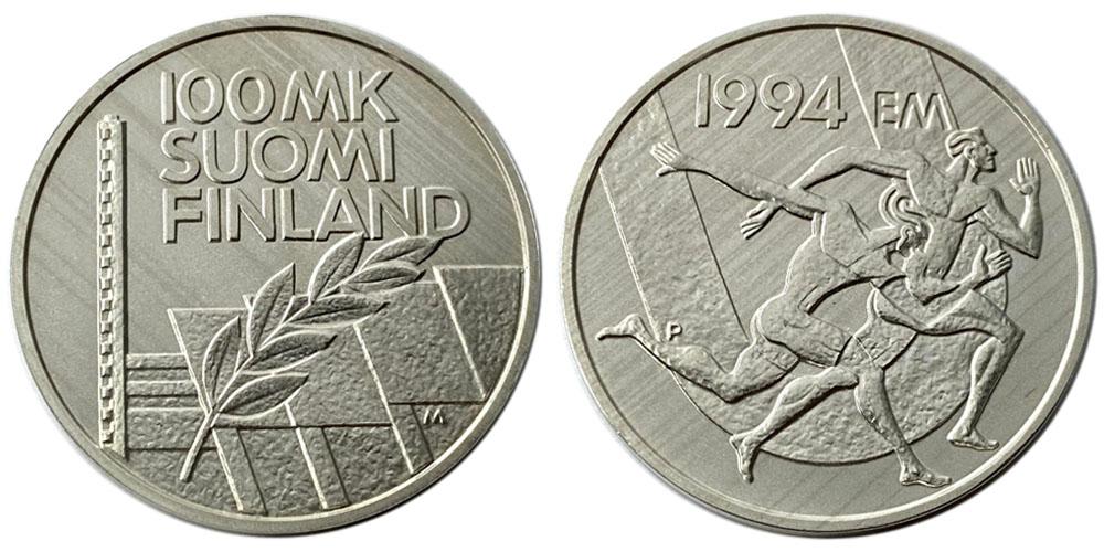 100 марок 1994 Финляндия — Стадион Дружбы — серебро