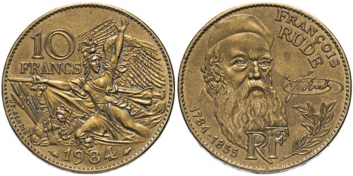 10 франков 1984 Франция — 200 лет со дня рождения Франсуа Рюда