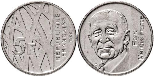 5 франков 1992 Франция — 10 лет со дня смерти Пьера Мендеса-Франса
