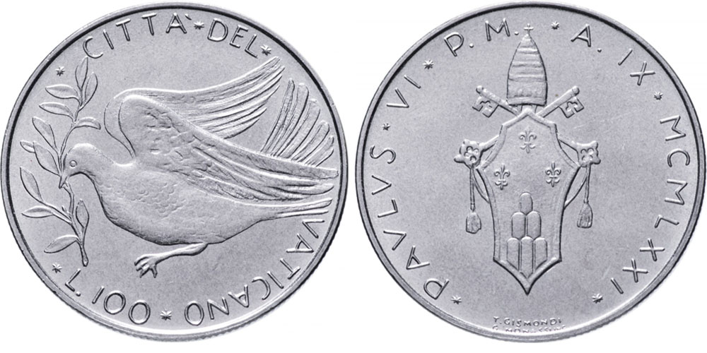 100 лир 1971 Ватикан — MCMLXXI