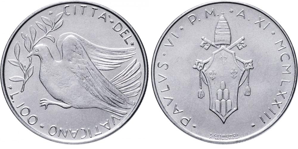 100 лир 1973 Ватикан — MCMLXXIII