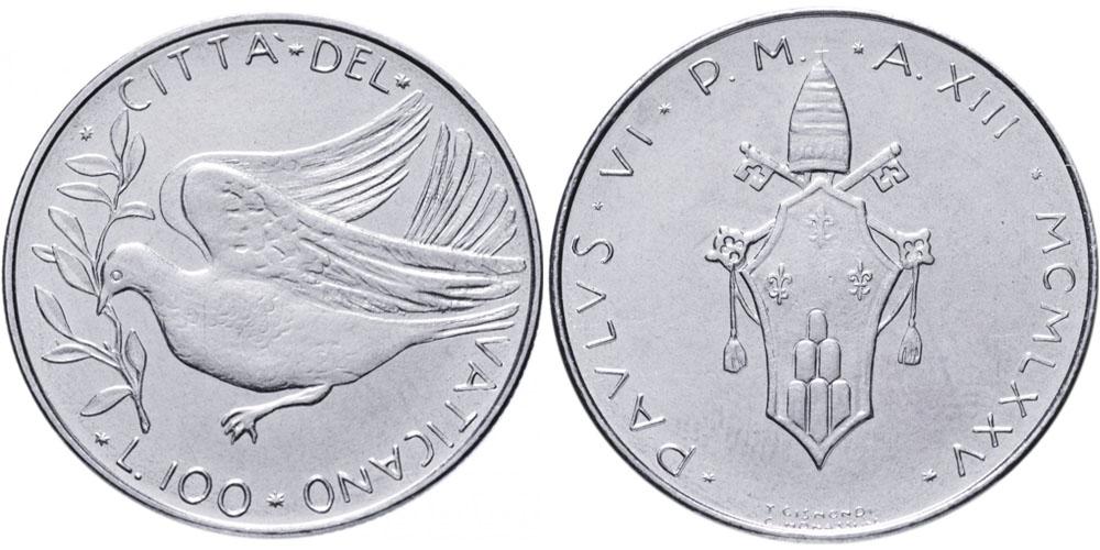 100 лир 1975 Ватикан — MCMLXXV