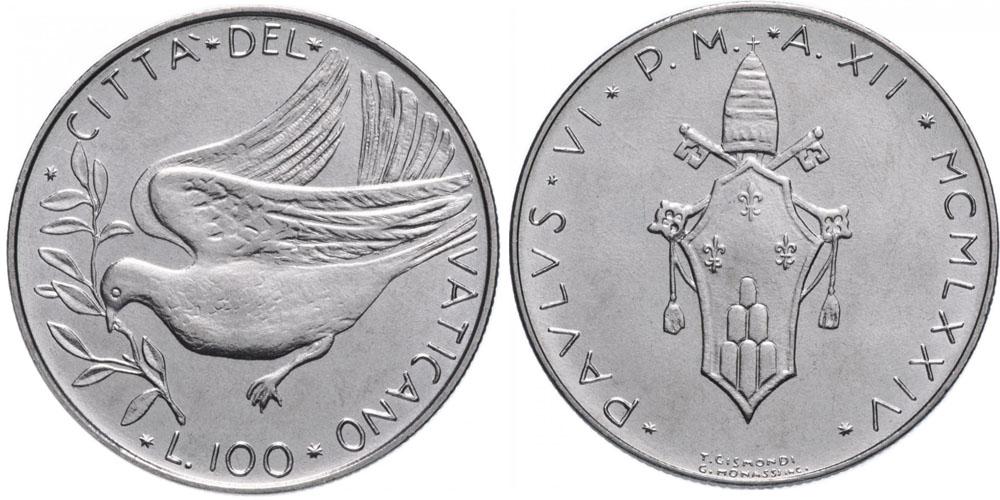100 лир 1974 Ватикан — MCMLXXIV