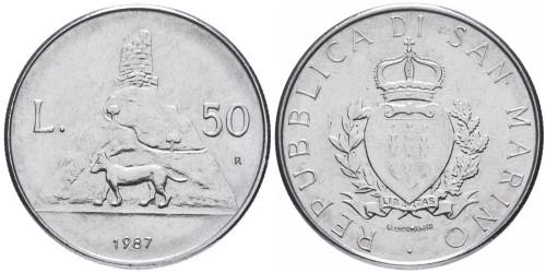 50 лир 1987 Сан-Марино — 15 лет возобновлению чеканке монет UNC