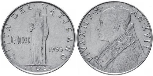100 лир 1955 Ватикан