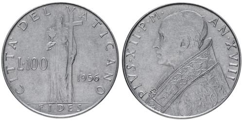 100 лир 1956 Ватикан