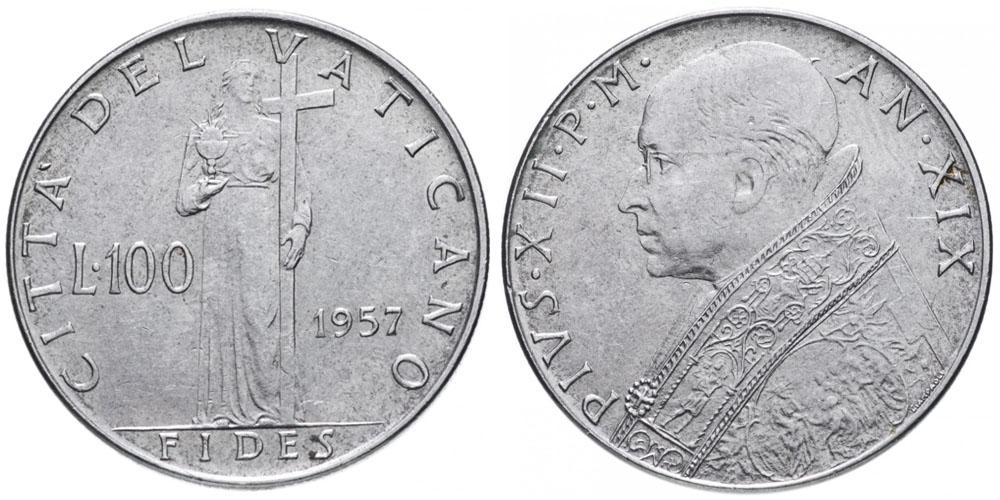 100 лир 1957 Ватикан