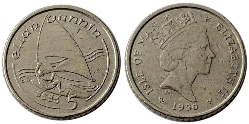 5 пенсов 1990 остров Мэн