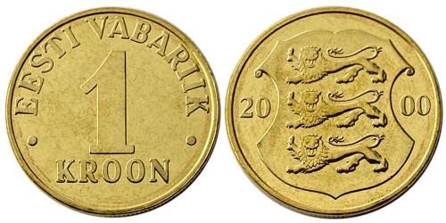 1 крона 2000 Эстония UNC