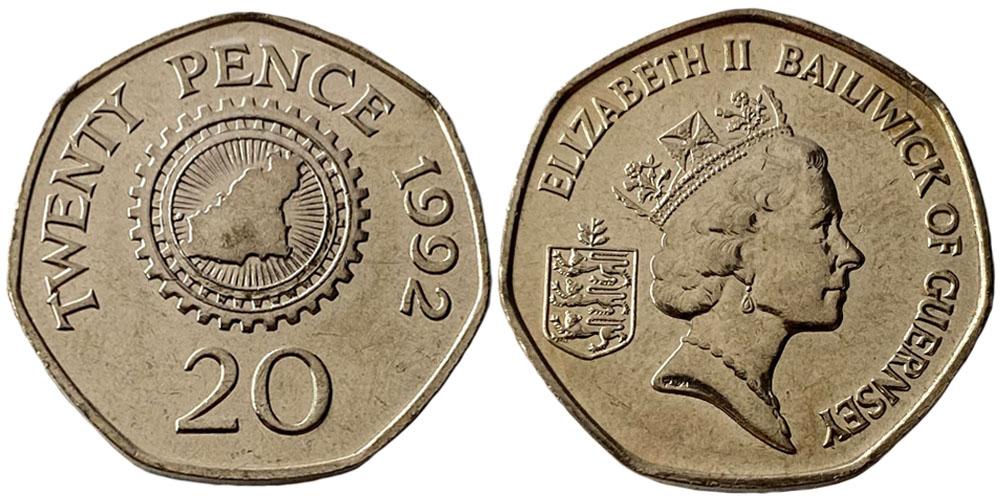 20 пенсов 1992 остров Гернси