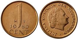 1 цент 1980 Нидерланды UNC