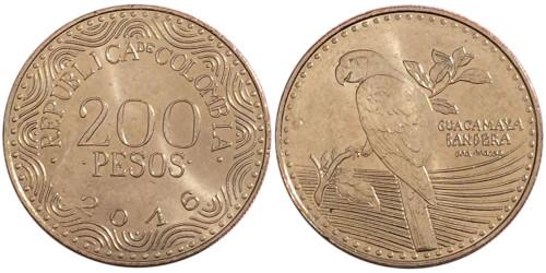 200 песо 2016 Колумбия — Красный ара UNC