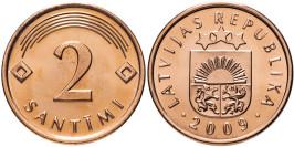 2 сантима 2009 Латвия UNC