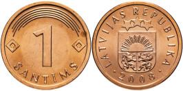 1 сантим 2008 Латвия UNC