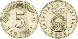 5 сантимов 2009 Латвия UNC