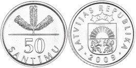 50 сантимов 2009 Латвия UNC