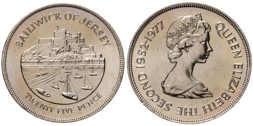 25 пенсов 1977 остров Джерси UNC