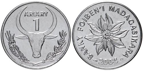 1 ариари 2004 Мадагаскар — Цифра 1 под словом ARIARY UNC