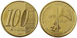 100 кванз 2015 Ангола — 40 лет независимости UNC