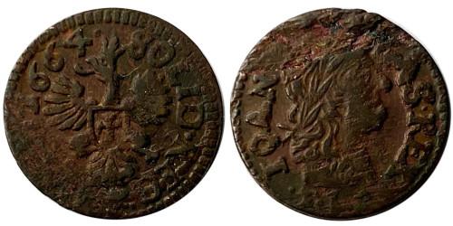 1 солид (боратинка) 1664 Польша — Герб Польши на реверсе