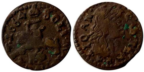 1 солид (боратинка) 1664 Польша — Герб Литвы на реверсе