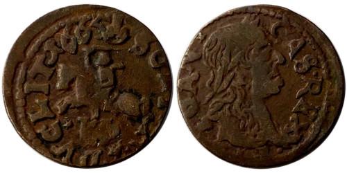 1 солид (боратинка) 1665 Польша — Герб Литвы на реверсе — платок на шее рыцаря №2