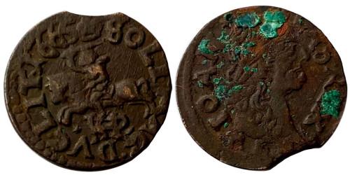 1 солид (боратинка) 1665 Польша — Герб Литвы на реверсе — платок на шее рыцаря №3