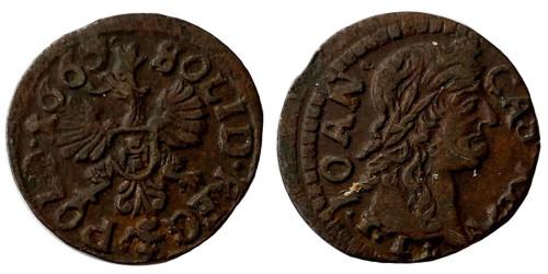 1 солид (боратинка) 1665 Польша — герб Польши на реверсе