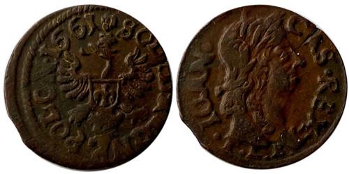 1 солид (боратинка) 1661 Польша — герб Польши на реверсе
