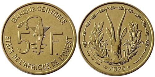 5 франков 2020 Западная Африка UNC
