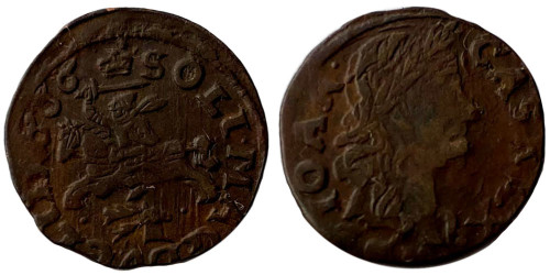 1 солид (боратинка) 1666 Польша — Герб Литвы на реверсе — голова оленя под лошадью на реверсе