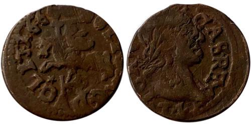 1 солид (боратинка) 1666 Польша — Герб Литвы на реверсе — Отметка МД «TLB», монограмма «HKPL»