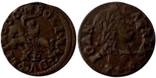 1 солид (боратинка) 1666 Польша — Герб Литвы на реверсе — Отметка МД «TLB», без платка на шее рыцаря