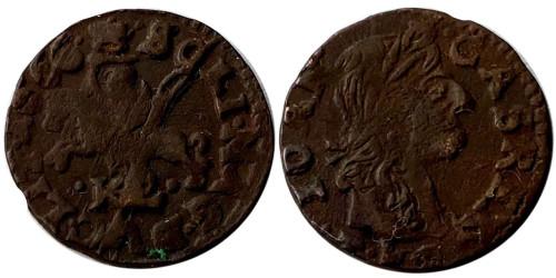 1 солид (боратинка) 1666 Польша — Герб Литвы — Отметка МД «TLB», без платка на шее рыцаря №3