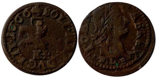 1 солид (боратинка) 1666 Польша — Герб Литвы — Отметка МД «TLB», без платка на шее рыцаря №4